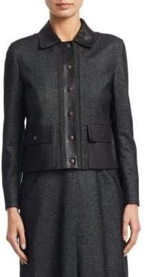 Akris Punto Faux Leather-Trim Denim Jacket