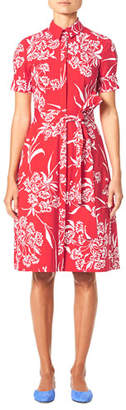 Carolina Herrera Short-Sleeve Button-Front Floral-Print Shirtdress