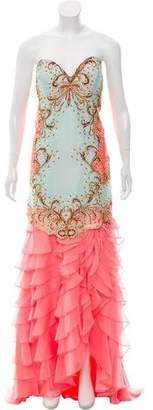 Terani Couture Baroque Print Gown w/ Tags