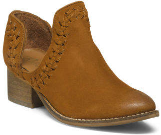 Leather Whipstitch Side Cut Out Booties