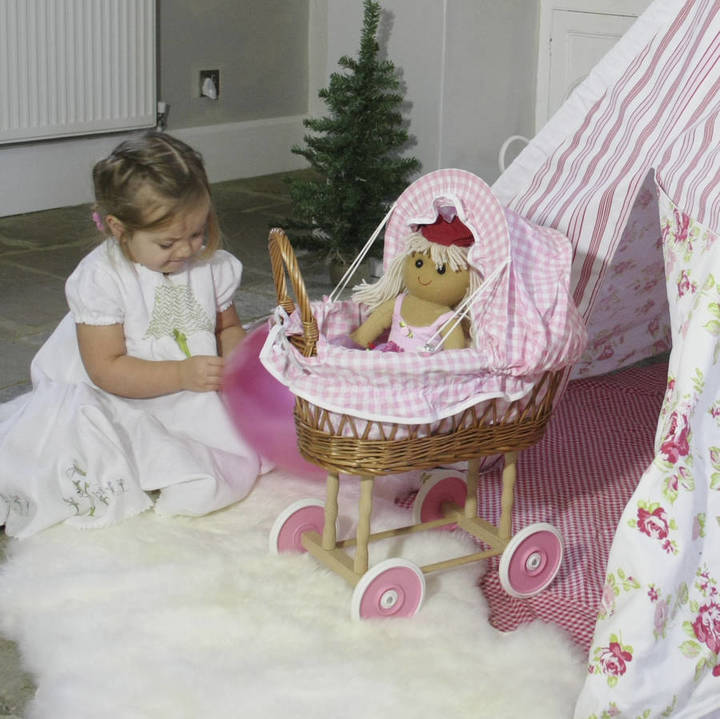 Little Ella James Pink Gingham Wicker Doll's Pram