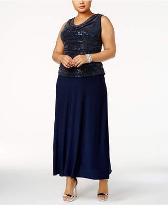 R & M Richards Plus Size Sequined A-Line Gown