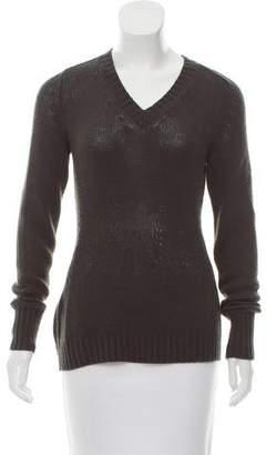Prada Rib Knit V-Neck Sweater