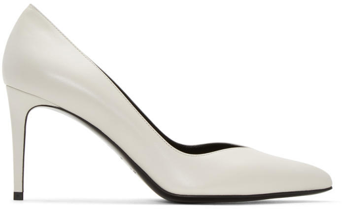 Saint Laurent White Paris Skinny Heels
