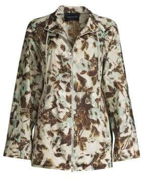 Lafayette 148 New York Baylor Palm Print Tech Cloth Coat