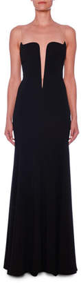 Stella McCartney Deep-V Illusion Bustier A-Line Stretch-Cady Evening Gown
