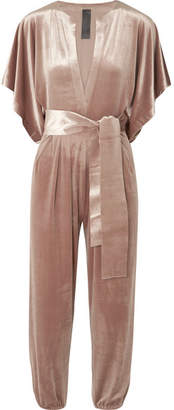 Norma Kamali Rectangle Velvet Jumpsuit - Antique rose