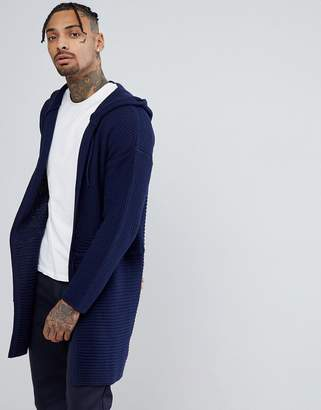 Asos Knitted Textured Parka Jacket In Navy