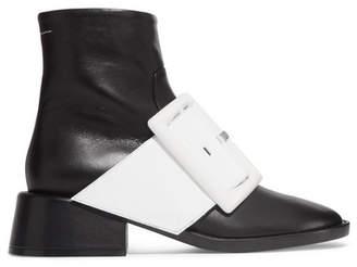 MM6 MAISON MARGIELA Patent-trimmed Leather Ankle Boots - Black