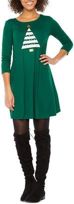 ST. JOHN'S BAY 3/4 Sleeve Holiday Swing Dresses