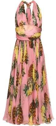 Dolce & Gabbana Printed Silk-Chiffon Halterneck Midi Dress