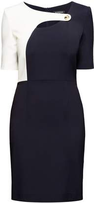 Rumour London - Francesca Midnight Blue Dress With Keyhole Tab Neckline And Cream Silk Detail