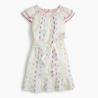 J.Crew Girls' smocked-neck dress in neon clip-dot