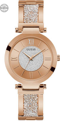 GUESS Women Rose Gold-Tone Stainless Steel & Swarovski Crystal Bangle Bracelet Watch 36mm