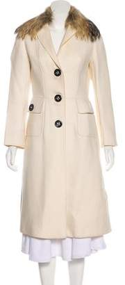 Dolce & Gabbana Fur-Trimmed Wool Coat