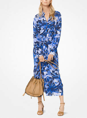 Michael Kors Floral Crepe De Chine Shirtdress