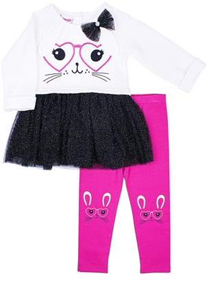 Nannette Rabbit Tulle Hem Tunic and Legging, 2-Piece Outfit Set (Little Girls)
