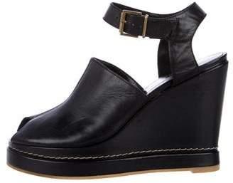 Robert Clergerie Leather Peep-Toe Platform Sandals