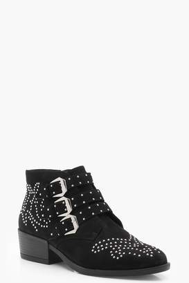 boohoo Stud and Buckle Ankle Boots