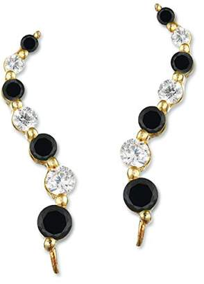 clear The Ear Pin Cubic Zirconia Black and Journey Sterling Earrings