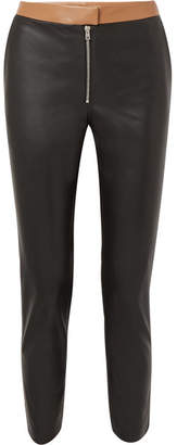 Victoria Beckham Two-tone Leather Skinny Pants - Black