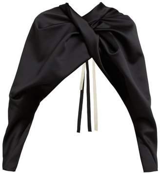 ff66411990d5e6 Colville - Twist Front Cropped Satin Cape Top - Womens - Black