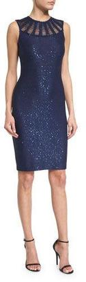 St. John Collection Sequined Knit Jewel-Neck Dress, Sapphire $1,395 thestylecure.com