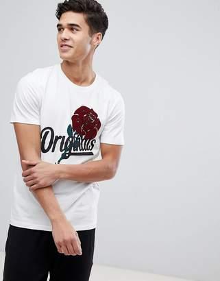 Jack and Jones Originals T-Shirt With Rose Print