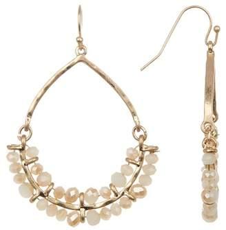 Melrose and Market Hammered Beaded Stone Trim Hoop Drop Earrings