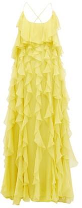 Valentino Ruffled Open Back Silk Chiffon Gown - Womens - Yellow