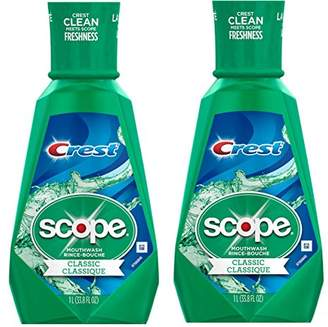 Procter & Gamble Crest Scope Classic Mouthwash Rince 1 Liter (33.8 oz) - Pack of 2