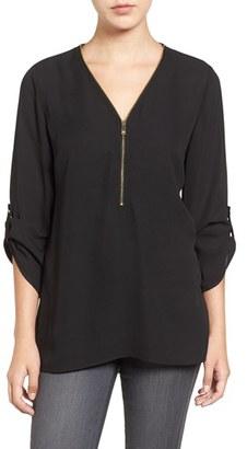 Women's Chaus Zip V-Neck Blouse $69 thestylecure.com