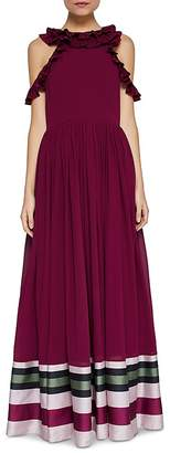 Ted Baker Stepha Imperial Stripe Cold-Shoulder Gown