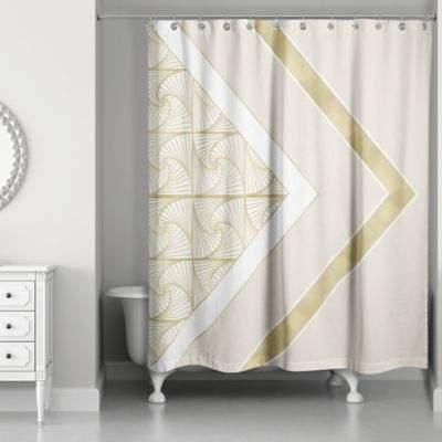 Spirals Shower Curtain in Ivory/Gold