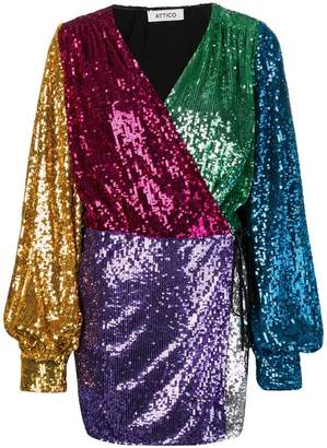 ATTICO colour-blocked sequin dress