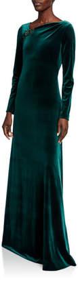 Rickie Freeman For Teri Jon Asymmetric Neck Long-Sleeve Velvet Gown