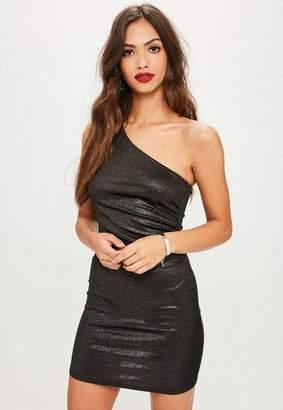 Missguided Black Metallic Foil One Shoulder Bodycon Dress