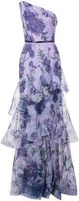 Marchesa floral print one-shoulder gown