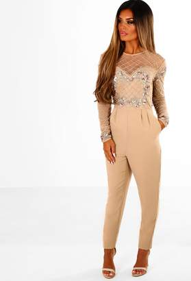 ebde91ffecd Pink Boutique Limited Edition Dazzling Dime Nude Embellished Long Sleeve  Jumpsuit