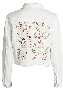 Off-White Women's Floral Embroidered Denim Jacket
