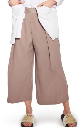 TopshopPetite Women's Topshop Vera Crop Wide Leg Trousers
