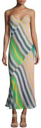 Diane von Furstenberg Chiffon Sleeveless Bias-Cut Slip Maxi Dress, Multi