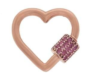 Marla Aaron Pink Tourmaline Baby Heart Lock - Rose Gold