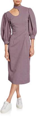 Ganni High-Neck Seersucker Cutout Midi Dress
