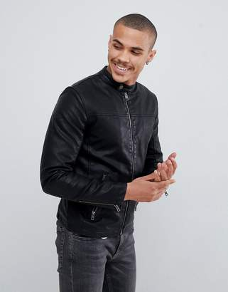 Solid faux leather jacket with pockets