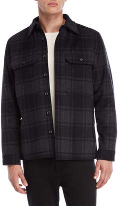 Vince Wool Plaid Military Shirt Jacket
