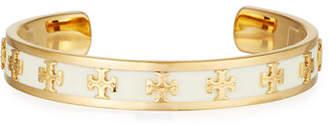Tory Burch Slim Raised Logo Enamel Cuff Bracelet