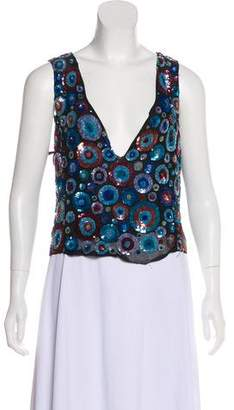 Armani Collezioni Embellished Sleeveless Top