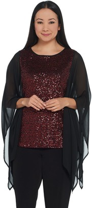Bob Mackie Bob Mackie's Sequin Top with Chiffon Side Panels