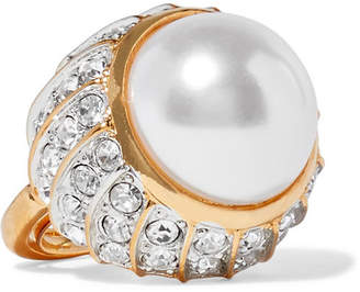 Kenneth Jay Lane Gold-plated, Crystal And Faux Pearl Ring